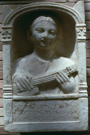 Roman relief of a girl with a lute, 1st century. Artist: Unknown-Unknown-Giclee Print