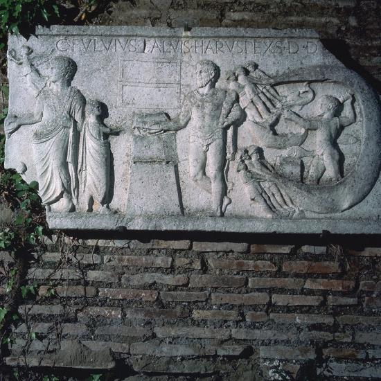 Roman relief of a haruspex, 3rd century. Artist: Unknown-Unknown-Giclee Print