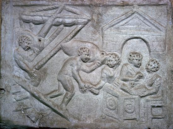 Roman relief of a ship unloading amphorae. Artist: Unknown-Unknown-Giclee Print