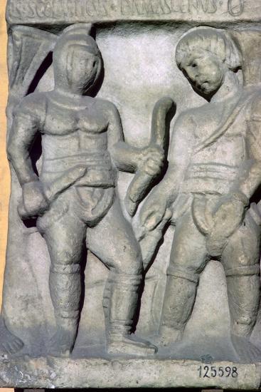 Roman relief of gladiators, 3rd century. Artist: Unknown-Unknown-Giclee Print