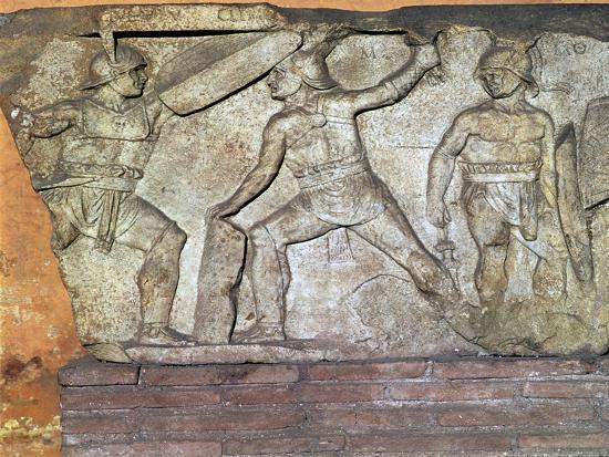 Roman relief of gladiators. Artist: Unknown-Unknown-Giclee Print