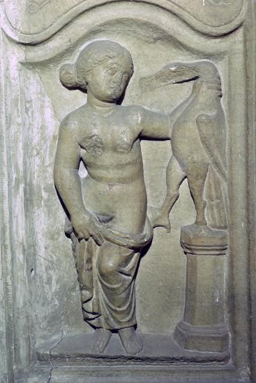 Roman relief of Leda and the Swan. Artist: Unknown-Unknown-Giclee Print