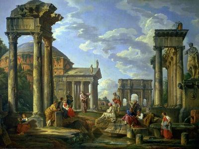 Roman Ruins with a Prophet, 1751-Giovanni Paolo Pannini-Giclee Print