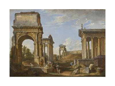 Roman Ruins with the Arch of Titus, 1734-Giovanni Paolo Panini-Giclee Print