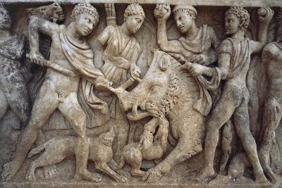 Roman Sarcophagus with Scene of Wild Boar Hunting, from Santa Maria Capua Vetere, Campania, Italy--Giclee Print