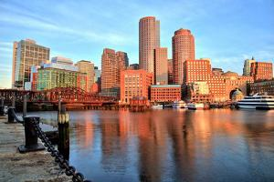 Boston Skyline with Financial District and Boston Harbor at Sunrise by Roman Slavik