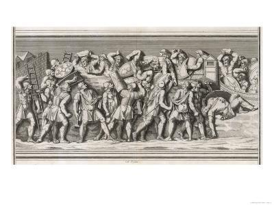 Roman Soldiers Attack a German Town, Casualties on Both Sides--Giclee Print