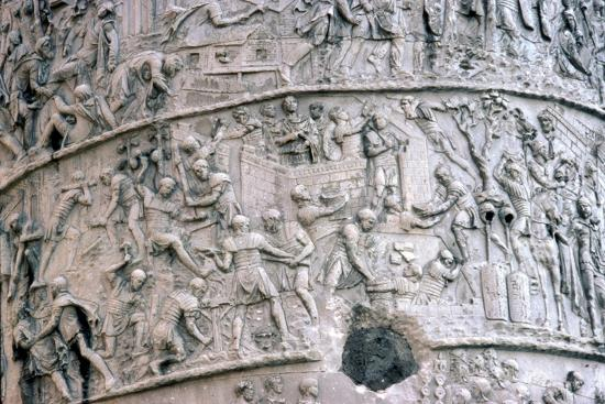 Roman Soldiers building fort in the Dacian Wars, Trajan's Column, Rome, c2nd century-Unknown-Giclee Print