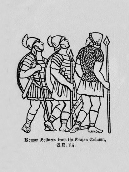 'Roman Soldiers from the Trajan Column A.D. 114', 1910-Unknown-Giclee Print