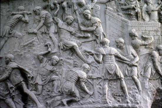 Roman soldiers working on construction, Trajan's Column, Rome, c2nd century-Unknown-Giclee Print