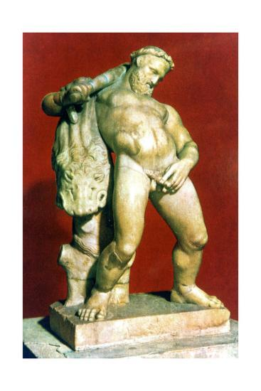Roman statue of a drunken Hercules. Artist: Unknown-Unknown-Giclee Print