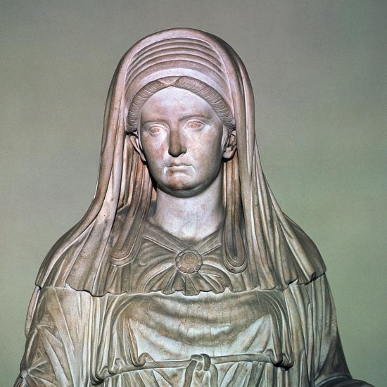Roman statue of the High Priestess of Vesta. Artist: Unknown-Unknown-Giclee Print