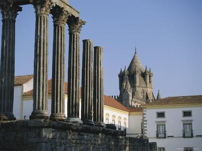 Roman Temple and Cathedral, Evora, Alentejo, Portugal, Europe-Firecrest Pictures-Photographic Print