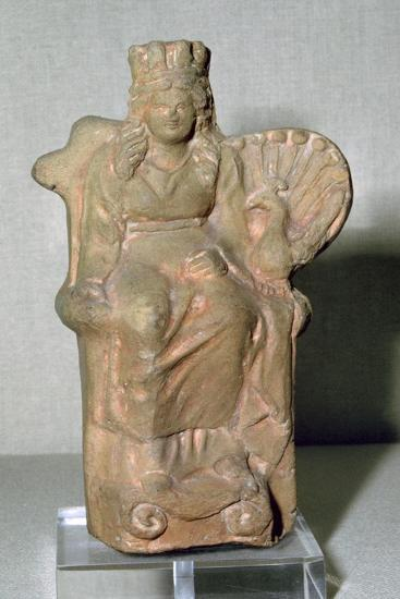 Roman terracotta figure of the goddess Juno, with a Peacock, 1st century. Artist: Unknown-Unknown-Giclee Print