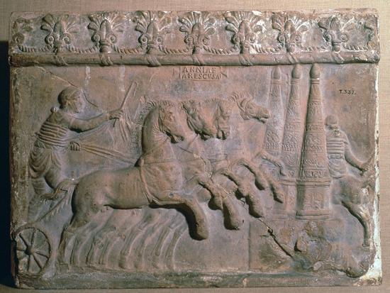 Roman terracotta panel showing a racing chariot-Unknown-Giclee Print