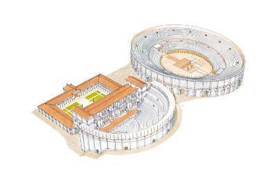 Roman Theatre and Amphitheatre, Reconstruction, Merida, Spain-Fernando Aznar Cenamor-Giclee Print