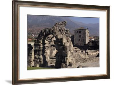 Roman Theatre Arch (1st Century Ad) in Roman Wall with Tour Fromage (12th Century) in Background--Framed Photographic Print