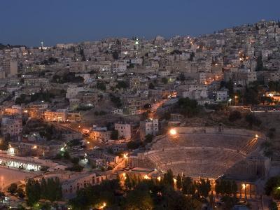 Roman Theatre at Night, Amman, Jordan, Middle East-Christian Kober-Photographic Print
