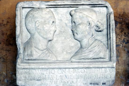 Roman tombstone, husband and wife face-to-face-Unknown-Giclee Print