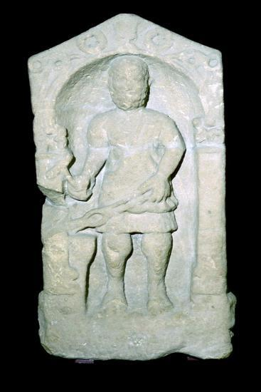 Roman tombstone of a Smith, pictured with his tools. Artist: Unknown-Unknown-Giclee Print