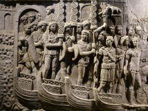 Roman Troops Embarking on Ships, Relief from Copy of Trajan's Column
