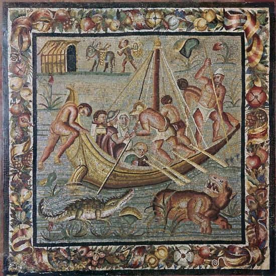 Roman wall mosaic of a ferry-boat, 1st century. Artist: Unknown-Unknown-Giclee Print