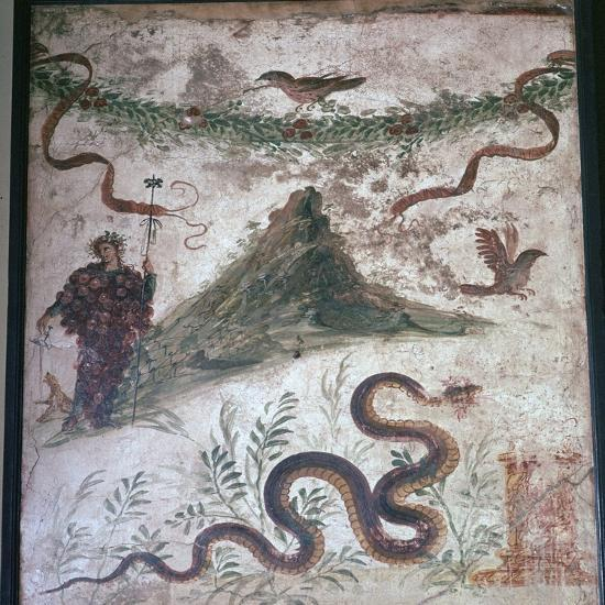 Roman wall-painting from Pompeii showing Vesuvius, 1st century. Artist: Unknown-Unknown-Giclee Print
