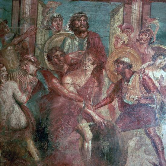 Roman wall-painting from the House of the Dioscuri in Pompeii, 1st centruy. Artist: Unknown-Unknown-Giclee Print