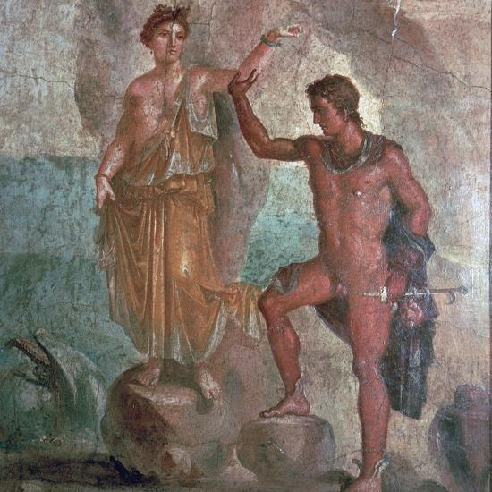 Roman wall-painting from the House of the Dioscuri in Pompeii, 1st century. Artist: Unknown-Unknown-Giclee Print