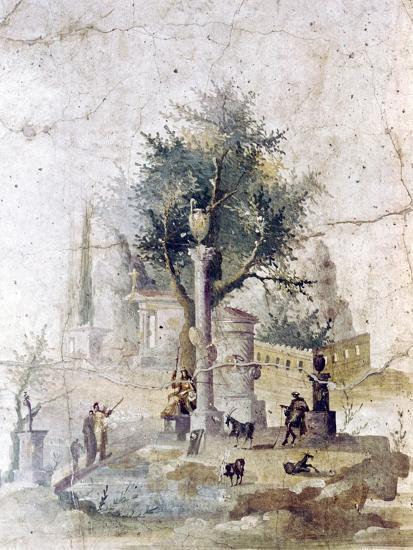 Roman wall painting from villa of Agriopa Posthumus, near Pompeii, c1st century-Unknown-Giclee Print