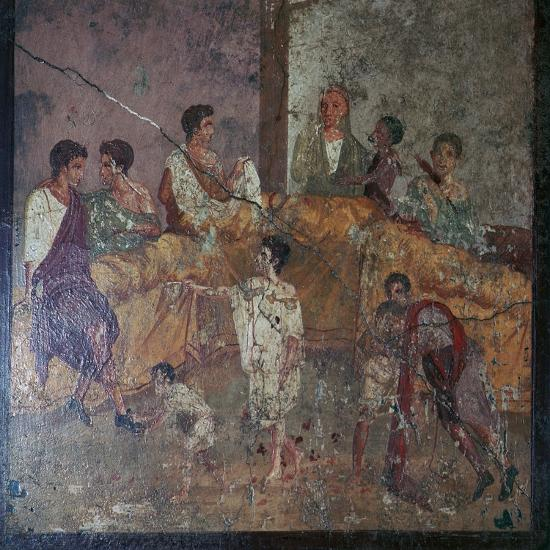 Roman wall-painting of a dinner party. Artist: Unknown-Unknown-Giclee Print