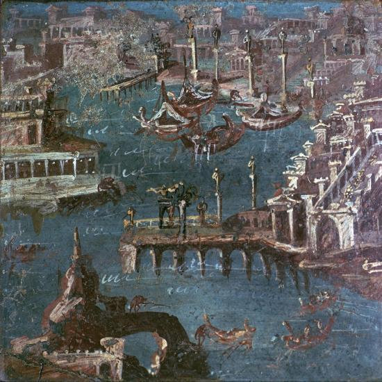 Roman wall-painting of a harbour scene. Artist: Unknown-Unknown-Giclee Print