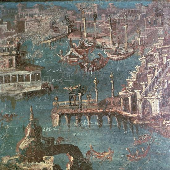 Roman wall painting of a harbour scene-Unknown-Giclee Print