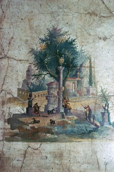 Roman wall-painting of a mythical landscape, c.1st century. Artist: Unknown-Unknown-Giclee Print