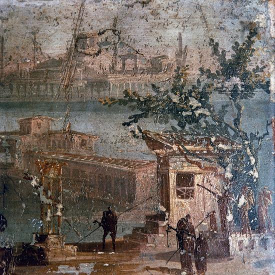 Roman wall painting of idyllic landscape, Pompeii, 1st century-Unknown-Giclee Print