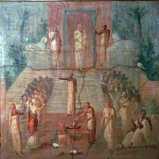 Roman wall-painting of Priests of Isis worshipping, 1st century. Artist: Unknown-Unknown-Giclee Print