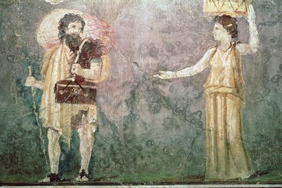 Roman wall painting of servants, 1st century BC-Unknown-Giclee Print