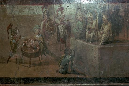 Roman wall-painting of the Judgement of Solomon. Artist: Unknown-Unknown-Giclee Print