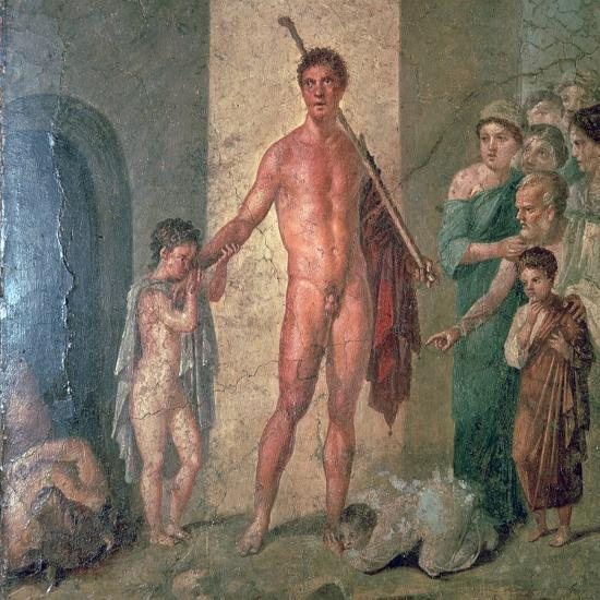 Roman wall-painting of Theseus after killing the Minotaur, 1st century. Artist: Unknown-Unknown-Giclee Print