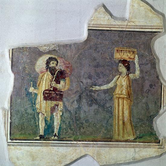 Roman wall-painting showing servants. Artist: Unknown-Unknown-Giclee Print