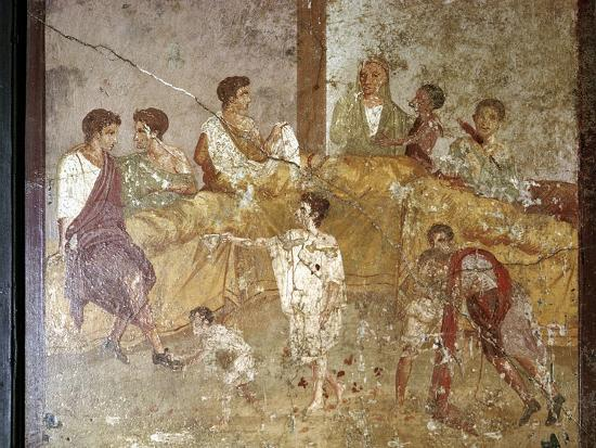 Roman wallpainting of a dinner-party, Pompeii, Italy. Artist: Unknown-Unknown-Giclee Print