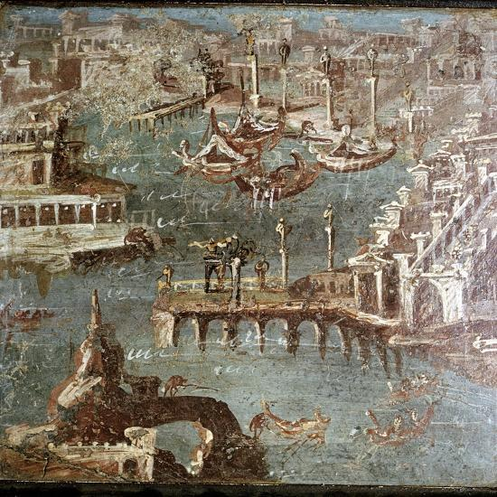 Roman wallpainting of  a harbour scene, Stabiae, near Pompeii, Italy. Artist: Unknown-Unknown-Giclee Print