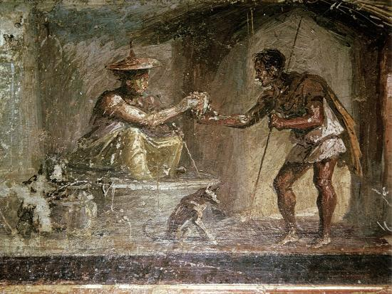 Roman wallpainting of a traveller and a water-seller, Pompeii, Italy. Artist: Unknown-Unknown-Giclee Print