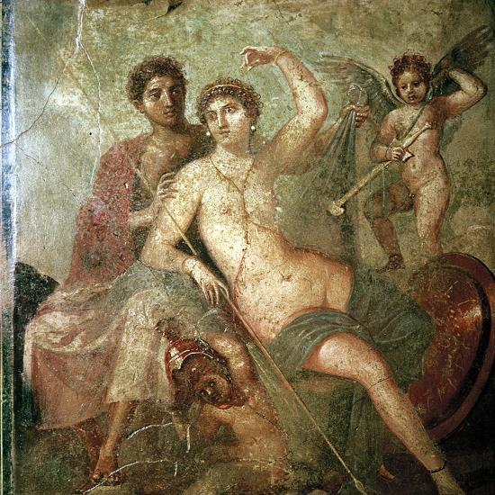 Roman wallpainting of Cupid, Venus and Mars, Pompeii, Italy. Artist: Unknown-Unknown-Giclee Print