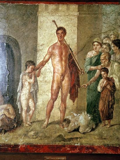 Roman wallpainting of Theseus after killing the Minotaur, Pompeii. Artist: Unknown-Unknown-Giclee Print