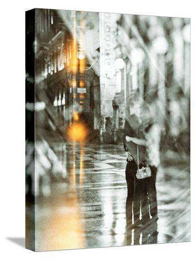 Romance In The Rain-Golie Miamee-Stretched Canvas Print