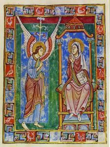 Albani Psalter, Annunciation, 1121-1146 by Romanesque