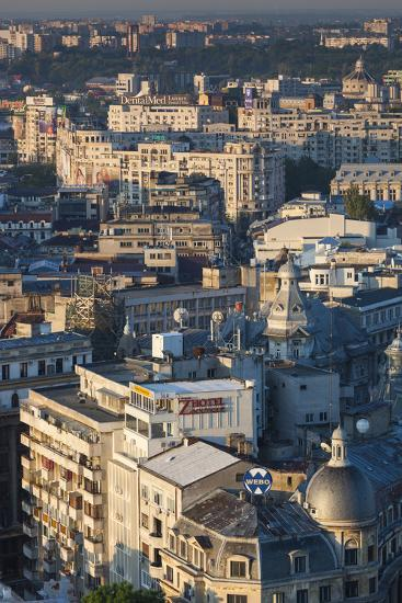 Romania, Bucharest, Lipscani, Old Town, Elevated View, Dawn-Walter Bibikow-Photographic Print