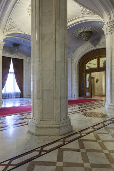 Romania, Bucharest, Palace of Parliament, Hallway Interior-Walter Bibikow-Photographic Print
