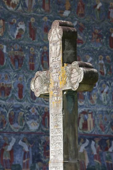 Romania, Bucovina, Sucevita, Sucevita Monastery, Frescoes and Cross-Walter Bibikow-Photographic Print